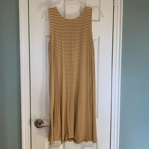 Old Navy Yellow and White Striped Swing Dress